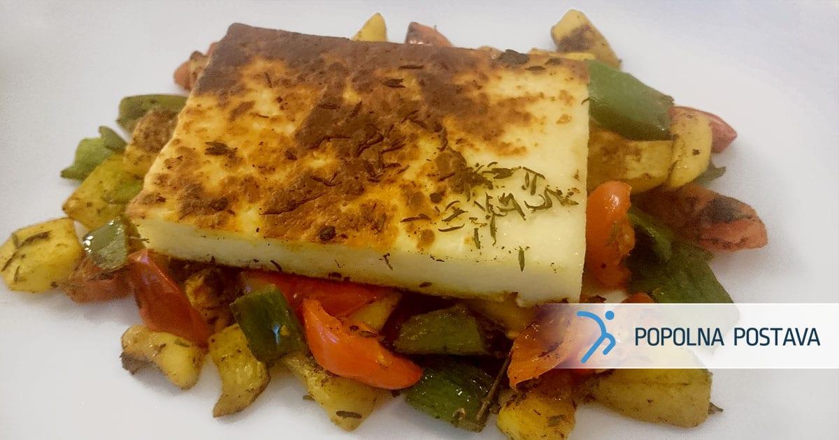 Sir na žaru in zelenjavni posteljici