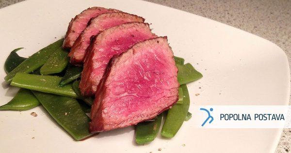 Sočni steak s stročjim fižolom